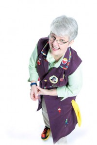 Gray-Haired Granny and her colorful coat
