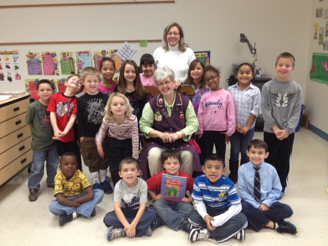 Granny visits first grade class